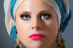 Close up portrait of beautiful  woman with turban Stock Image