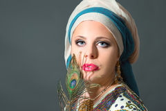 Close up portrait of beautiful  woman wearing turban Stock Images