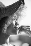 Close up portrait of a beautiful young african american woman sm Royalty Free Stock Images