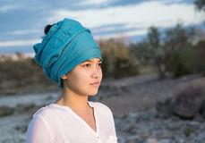 Close-up portrait of a beautiful young asian woman with a turban Stock Image