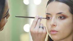 Close up portrait of beautiful young brunette woman applying eye-zone make up with cosmetic brush stock video