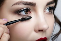 Close up portrait of beautiful young brunette woman face. Female. Applying mascara to eyelashes by makeup brush Stock Photos