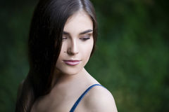 Close-up portrait of a beautiful young caucasian woman with clean skin, long hair and casual makeup Stock Images