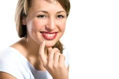 Close-up portrait of beautiful young fashion model Stock Photo