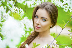 Close up portrait of a beautiful young girl on the background of Royalty Free Stock Images
