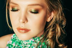 Close up portrait of beautiful young girl stock photos