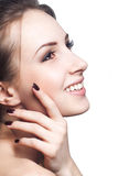 Close up portrait of beautiful young happy smiling woman stock photography