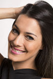 Close up portrait of beautiful young happy smiling woman. stock photo