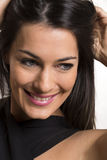 Close up portrait of beautiful young happy smiling woman. royalty free stock photography