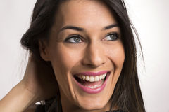 Close up portrait of beautiful young happy smiling woman. stock images