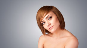 Close up portrait of beautiful young naked girl Royalty Free Stock Image