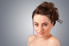 Close up portrait of beautiful young naked girl Stock Photography