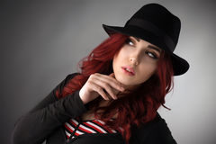 Close up portrait of a beautiful young redhead woman Royalty Free Stock Photography