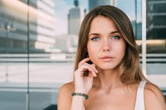 Close up portrait of a beautiful young woman Royalty Free Stock Image