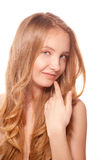 Close up portrait of beautiful young woman. Face Royalty Free Stock Image