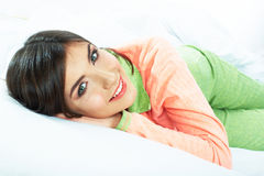 Close up portrait of beautiful young woman in bed. Smiling  dre Royalty Free Stock Photos
