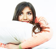 Close up portrait of beautiful young woman in bed. Smiling  dre Stock Photo