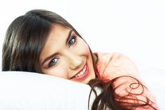 Close up portrait of beautiful young woman in bed. Stock Photography