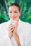 Close up portrait of a beautiful young woman drinking a coffee Stock Photos