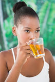 Close up portrait of a beautiful young woman drinking a tea Stock Image