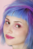Close-up portrait of beautiful young woman with dyed hair Stock Images