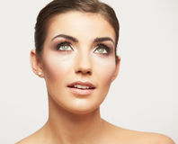 Close up portrait of beautiful young woman face. Royalty Free Stock Photo