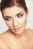 Close up portrait of beautiful young woman face. Royalty Free Stock Photography