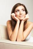 Close up portrait of beautiful young woman face. Stock Photos