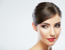 Close up portrait of beautiful young woman face. Royalty Free Stock Images