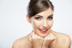 Close up portrait of beautiful young woman face. Stock Photography
