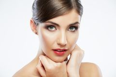 Close up portrait of beautiful young woman face. royalty free stock image