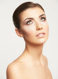 Close up portrait of beautiful young woman face. Royalty Free Stock Photos