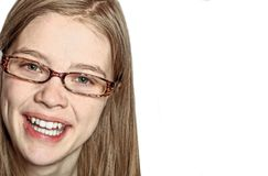 Close Up Portrait of a Beautiful Young Woman with Glasses royalty free stock photo