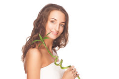 Girl with green bamboo Royalty Free Stock Images