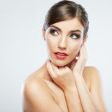 Close up portrait of beautiful young woman isolate Royalty Free Stock Image