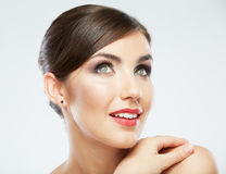 Close up portrait of beautiful young woman isolate Royalty Free Stock Images