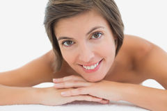 Close up portrait of a beautiful young woman on massage table Royalty Free Stock Photography