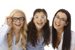 Beautiful girls in glasses Stock Photos