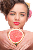 Close up portrait of beauty woman with grapefruit Royalty Free Stock Photography
