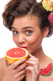 Close up portrait of beauty woman with grapefruit Royalty Free Stock Images