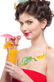Close up portrait of beauty woman with juice Stock Image