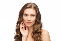 Close-up portrait of beauty woman skin care Royalty Free Stock Image