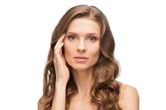 Close-up portrait of beauty woman skin care Royalty Free Stock Photo