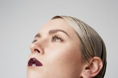 Close-up portrait Beauty women with big blue eyes and dark eyebrows looking at camera.Model with light nude make-up. Close-up portrait Beauty woman with big blue royalty free stock image