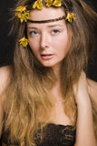 Close up portrait of beauty young woman with flowers, sensual people happy Royalty Free Stock Photo