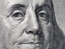 Closeup portrait Benjamin Franklin on 100 us dollar bill. Close up portrait Benjamin Franklin on 100 us dollar bill Stock Images