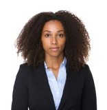 Close up portrait of a black business woman. Posing on isolated white background stock photo