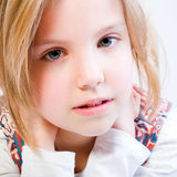 Close up portrait of a blond child royalty free stock photo