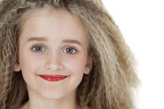 Close-up portrait of blond girl wearing red lipstick Royalty Free Stock Photography