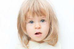 Close up portrait blond hair baby girl with a scratch on her nose isolated on the white background. Surprised female royalty free stock images